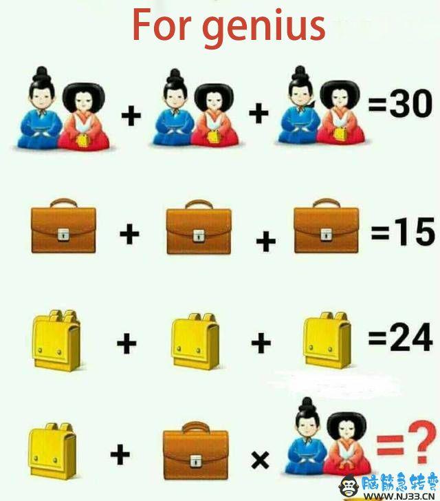 书包加公文包加和服公仔图中的数学题是多少,你会解答吗?